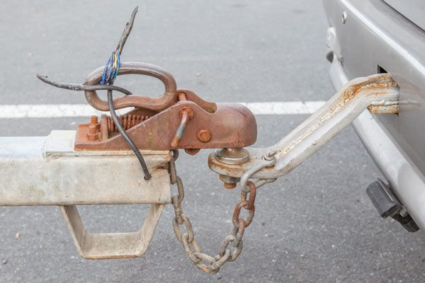 Old towbars with hook and chain