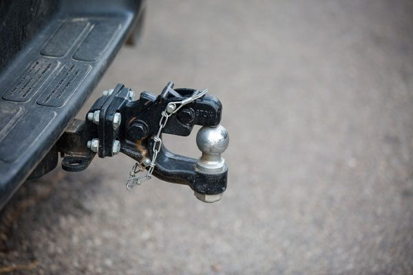 Close-up of a car tow hitch