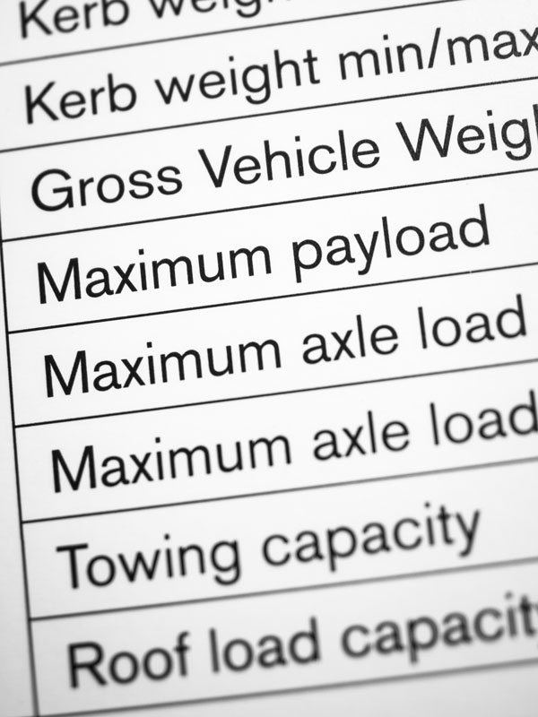 Close-up of vehicle load bearing capacity