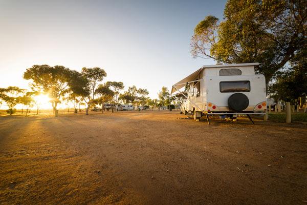 Caravan basking in sunshine
