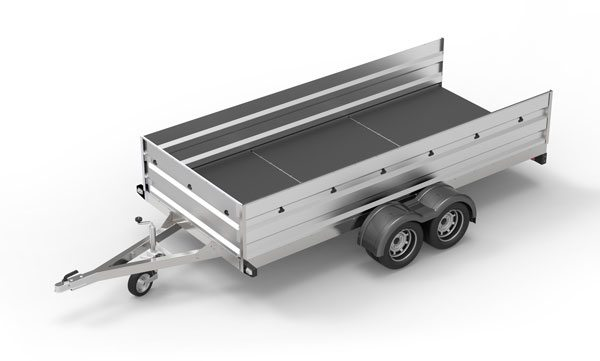 A car trailer on a white background